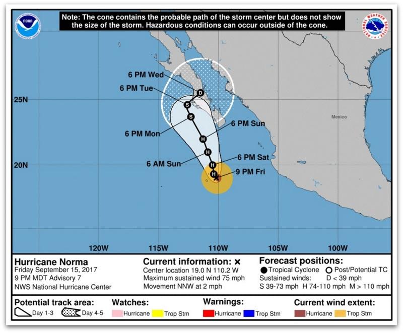 Ураганот Норма се приближува кон северозападниот дел на Мексико